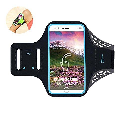 Pawaca Sportarmband, Freien Running Handy Tasche mit Fingerabdruck Touch Wasserdichte Arm Band mit Schlüssel Halter für iPhone 6/7/6S/6Plus/7plus/8/x (schwarz), Schwarz, 11,9 cm/4,7 Zoll - Nano Ipod Armband Wasserdichte