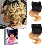 Emmet Brazilian Hair Extensions Ombre Colors Virgin Hair Can be Dyed and Permed Body Wave Hair Weaving Easy Installing&Sewing 8Inch Short Size 100% Human Hair Weave 2Bundles/lot 50g/Bundle (1B#/27#)