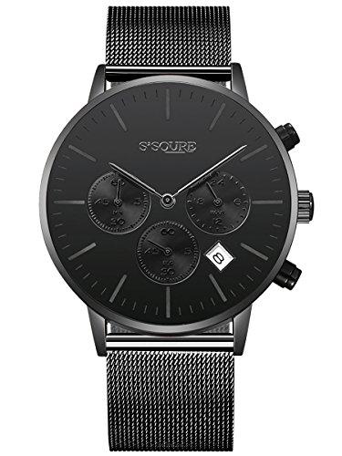 Alienwork All Black Herren Damen Armbanduhr Quarz schwarz mit Metall Mesh Armband Edelstahl Kalender Datum