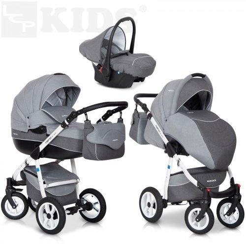 Riko NANO 3in1 Kombikinderwagen Babywanne Buggy Autositz Babyschale 0-13 kg Multifunktional und mit XXL Ausrüstung, Farbe: Grey Fox