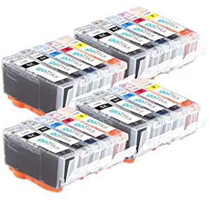 Go Inks C-525/526-SET-4 Pack de 20 Cartouches d'encre compatible avec Imprimante Canon Pixma Multi-Pack (Noir, Cyan, Magenta, Jaune)