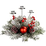 WeRChristmas - Centrotavola natalizio con 3 portacandele, 22 cm, motivo innevato