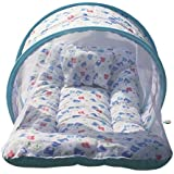 Baybee Toddler Mattress With Mosquito Net For Baby - Ideal For New Born Upto 12 Months Baby (Print May Vary) (Blue)