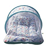 #6: Baybee Toddler Mattress with Mosquito Net for Baby - Ideal for New born upto 12 months baby (Print may vary) (Blue)