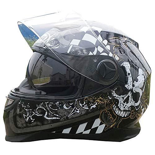 CAKUI Kühler Schädel Motorrad-Sturzhelm, Vier Jahreszeiten Universal-Doppel-Objektiv UV-Schutz Off-Road-Motorrad-Reiter Vollvisierhelm, DOT Certified Schutzkappe,M:53~55cm