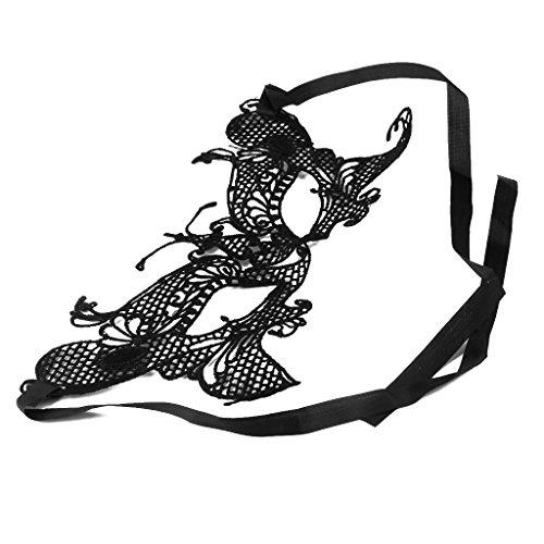 ing Form Venezianische Maskerade Spitze Maske für Damen Frauen, Perfekt für Weihnachten Halloween Karneval Geburtstag Party Kostüm Make up - Schwarz (Make Up Kostüme Maske)