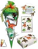 4 tlg. Set: Bastelset Schultüte - 85 cm + Schulbox / Kreativbox + Mappe + Stundenplan - incl. Namen - Dinosaurier Jungen Dino T-Rex - Zuckertüte Roth Schule Basteln Malbox für Kinder / Schulanfang / Spielzeugkiste / Box