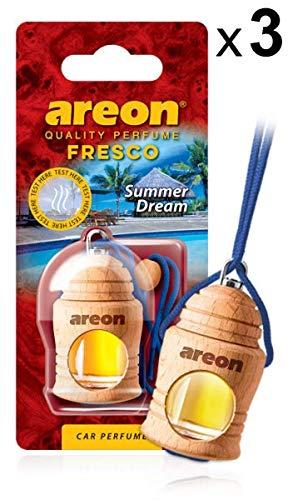 AREON Fresco Auto Duft Sommertraum Autoduft Flasche Glas Duftflakon Parfüm Flakon Holz Luft Aufhängen Hängend Anhänger Spiegel Rot 4ml 3D (Summer Dream Pack x 3)