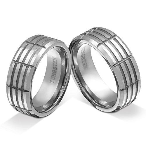 Juwelier Schönschmied - Zwei Wolframringe Partnerringe Hochzeitsringe Freundschaftsringe Draconis Wolframcarbid inkl. persönliche Wunschgravur multisizer NrW15HH