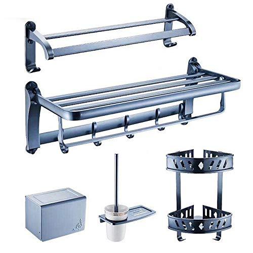 Bambus-fünf Schubladen (KaO0YaN-Bath Space Aluminium Badregal Badezimmer Set Hardware Anhänger Saphirblau fünf Teile)