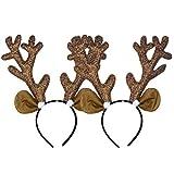 NUOBESTY 2 piezas de renos con brillo diadema de asta diademas de oreja de gato diademas de navidad favores de fiesta de navidad