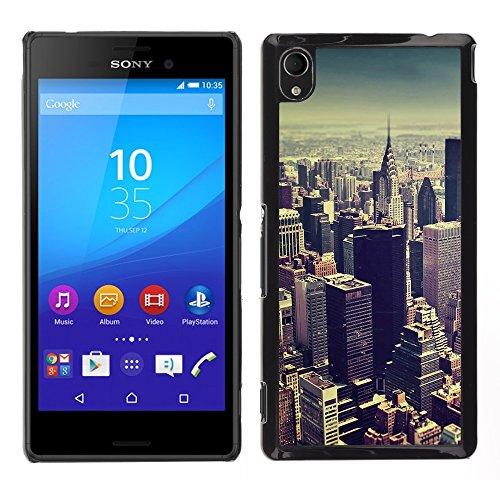 Graphic4You New York City Tilt Shift Postkarte Ansichtskarte Design Harte Dünn Hülle Tasche Schale Schutzhülle für Sony Xperia M4 Aqua Aqua-shift