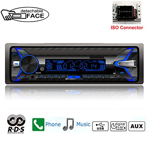 PolarLander Bluetooth Car Radio, 4 × 50W Handsfree Car Stereo Radio, Handsfree Calls, Radio Function 1 DIN / Detachable Front Panel / RDS / FM / USB / TF / AUX IN / Remote Control