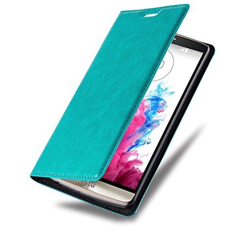 LG G3 Hülle in TÜRKIS von Cadorabo - Handyhülle mit unsichtbarem Magnetverschluss Standfunktion und Kartenfach Case Cover Schutzhülle Etui Tasche Book Klapp Style in PETROL TÜRKIS