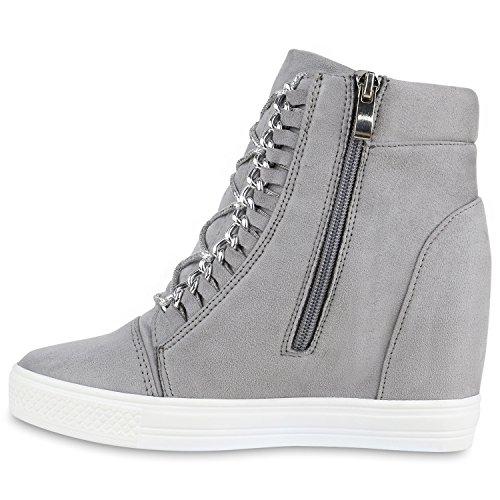 Damen Sneaker-Wedges ketten Glitzer Keilabsatz Sneakers Grau
