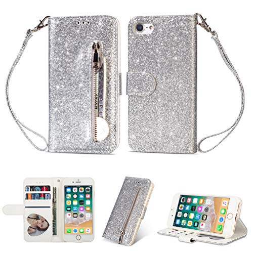 Coque iphone 7, iphone 8 Housse en Cuir LaVibe PU Leather Etui Portefeuille à Rabat Glitter Clapet Support Fermeture éclair Porte Video Stand, Flip Wallet Protective Case Cover–Argent