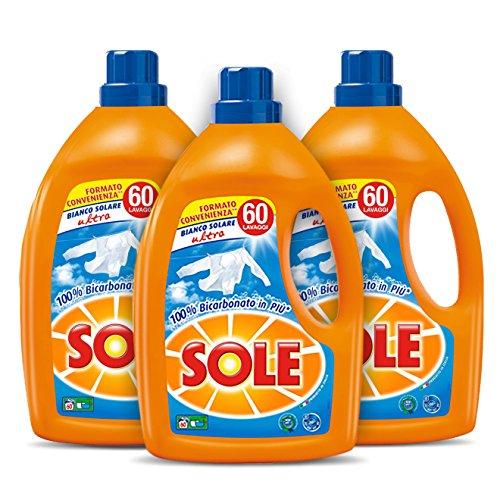 comprare on line Sole Bianco Solare, Detersivo Lavatrice Liquido, Megapack da 180 Lavaggi, 3 flaconi da 3 litri prezzo