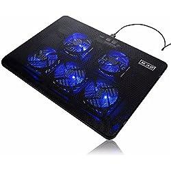5 Ventilateurs LED USB Port Cooling Stand Pad Cooler pour 17 Pouces Portable Portable
