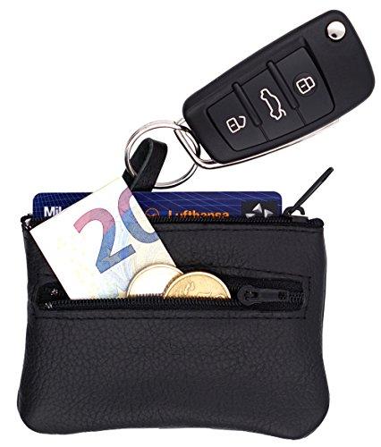 Echt Leder Schlüsseltasche Schwarz, 2 Fächer, Schlüsseletui für Schlüsselbund & Autoschlüssel, Schlüsselmäppchen groß für Damen & Herren, Handmade in Germany