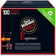 Caffè Vergnano 1882 Èspresso Cremoso, 100 Capsule, Compatibili Nespresso, Compostabili