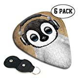 Baby Penguin Dj with Headphones Digital Celluloid Guitar Picks Premium Picks 6 Pack for Guitar,Mandolin,and Bass 0.46mm, 0.71mm, 0.96mm Optional with PU Leather Pick Holder(0.71mm)