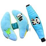 Baby Schutz Set, liketo Baby stützt Kopf und Nacken Kissen für function-stroller, Autositz Baby Newborn Travle Kissen (Panda, Blau)