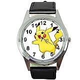 taport Pikachu Pokemon RUND Quarzuhr schwarz Leder Band + Gratis Ersatz Akku + Geschenk Tasche