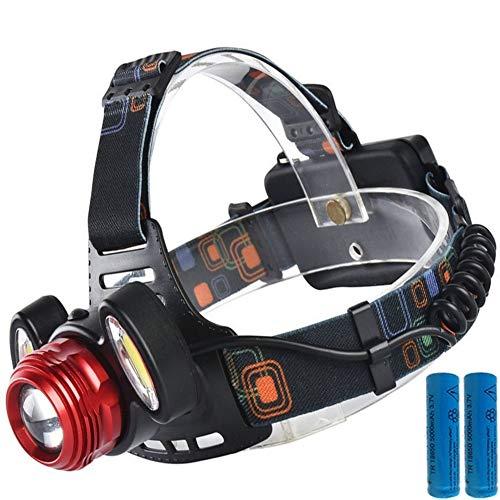 LED Stirnlampe Wiederaufladbare 3000 Lumen- Horus Creations - 2 Batterien Enthalten 6400 Mha - IP65 Wasserdicht - Frontleuchte Für Innen Und Außen, Ausflugs Oder Notfalllampe - Mini LED Taschenlampe