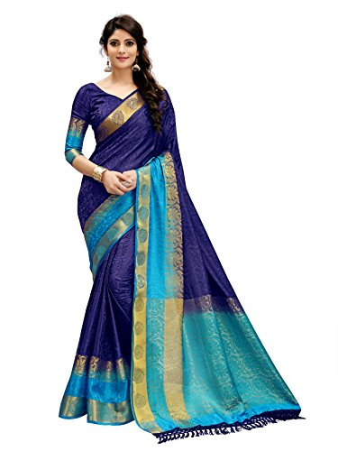 Tagline Women\'s Cotton silk Saree (VTULIGH001BLUE_BLUE)