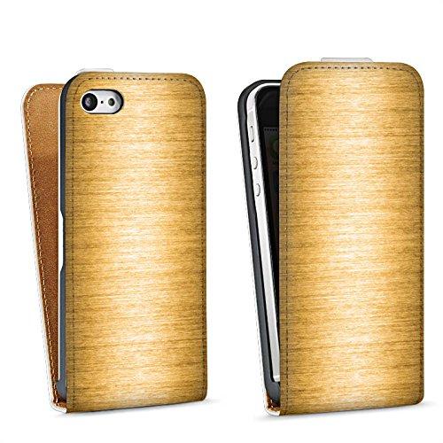 Apple iPhone 4 Housse Étui Silicone Coque Protection Look métal Or Métal Sac Downflip blanc