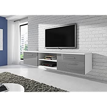 floating tv unit cabinet stand vegas white fronts high gloss grey 150 cm