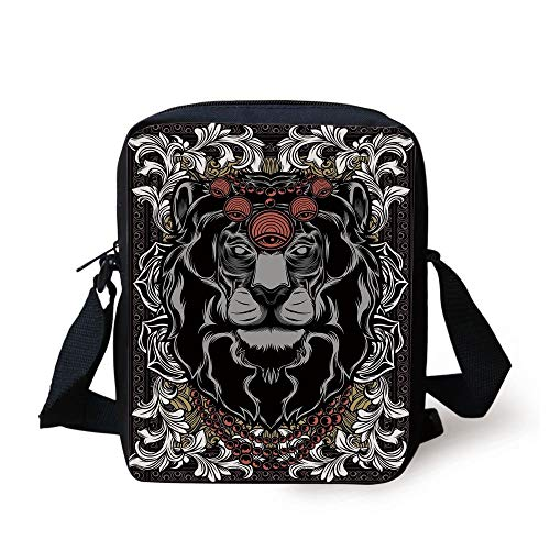 King,Forest Jungle Emperor Safari Animal Lion with Medieval Design Frame Print Decorative,Grey White Coral Black Print Kids Crossbody Messenger Bag Purse
