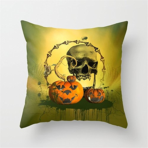 Happy Halloween Funny Punpkins and Skull Pattern Throw Pillow Case Cushion Cover Decorative Cotton Blend Linen Burlap Pillowcase for Home Office Sofa Square 18