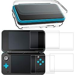 Étui de Protection pour NEW Nintendo 2DS XL avec Protecteur D'écran, AFUNTA Housse Transparente avec 4 Pièce de Films en Verre Trempé pour Écran Supérieur et Inférieur pour 2DS LL