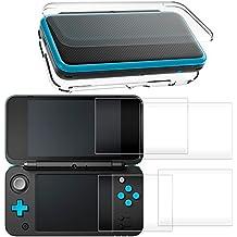 Funda rígido para Nintendo New 2DS XL con Protector de Pantalla, AFUNTA Case dura y transparente, con 4 Vidrio templado Películas de protección para pantalla superior e inferior para New Nintendo 2DS XL 2017