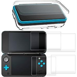 Hard Case für NEU Nintendo 2DS XL mit 2 Packs Displayschutzfolie, AFUNTA Anti-Scratch Crystal Clear Case, mit 4 Stück gehärtetem Glas Schutzfolien für Top und Bottom Screen