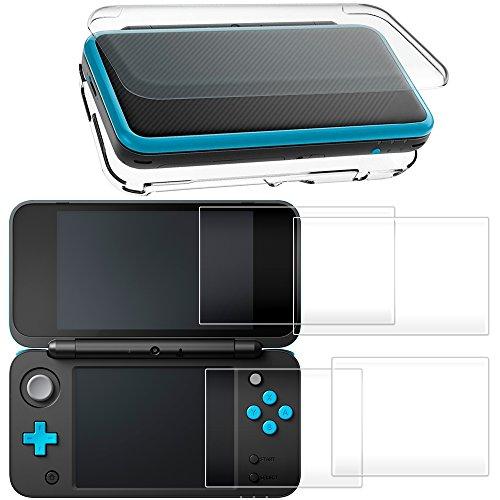 Hard Case für NEU Nintendo 2DS XL mit 2 Packs Displayschutzfolie, AFUNTA Anti-Scratch Crystal Clear Case, mit 4 Stück gehärtetem Glas Schutzfolien für Top und Bottom Screen (Nintendo 3ds Xl Skin Protector)