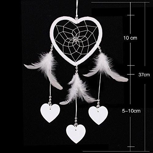 Coeur Blanc Pur Dream Catcherhandmade Plume Tissage Mariage Décoration Décoration De La Saint-Valentin Cadeau,White,2Pcs