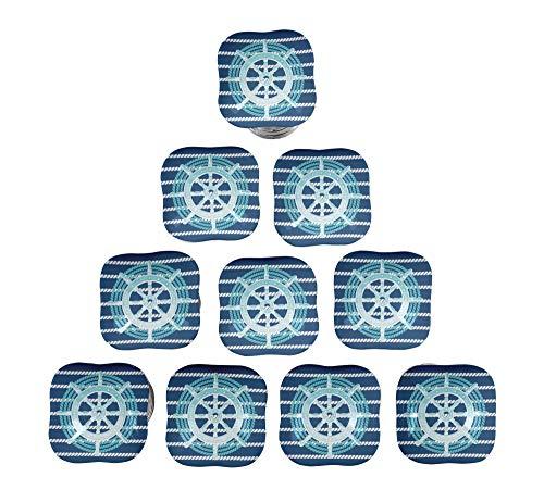 IBA Indianbeautifulart Blau Rad & rope stripe nautisch Quadratische Keramik Schrankgriffe Möbelgriffe Für Kommoden -