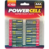 AAA Batteries Powercell - 16 Pack - For Remote Control, Clocks, Radios etc