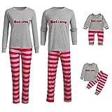 Riou Weihnachten Familie Pyjamas Set Gestreift Print Pullover Homewear für Junge Mädchen Baby Kleidung Kinder PJS Schlafanzug Weihnachts Pyjama Outfits Set (65-70cm, Baby)
