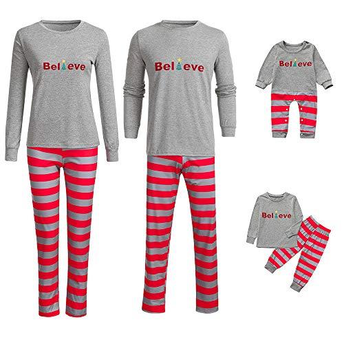 Riou Weihnachten Familie Pyjamas Set Gestreift Print Pullover Homewear für Junge Mädchen Baby Kleidung Kinder PJS Schlafanzug Weihnachts Pyjama Outfits Set (2XL, Mom)