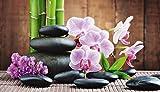 Artland Leinwand-Bild fertig aufgespannt auf Holzfaserplatte mit Motiv scorpp Spa Konzept mit Zen Steinen und Orchideen Wellness Zen Stein Fotografie Pink/Rosa 40 x 70 x 1,2 cm A6MJ