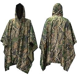 Poncho, Mture Rain Jacket Urgence Poncho Multifonction Camouflage militaire pluie Portable Emergency Poncho,Pour camping Randonnée Vélo Chasse Activité En Plein Air