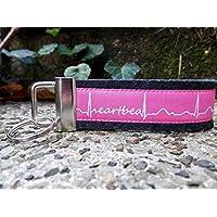 Schlüsselanhänger Schlüsselband schwarz grau Mein und Dein Herz schlägt Heartbeat pink weiß !