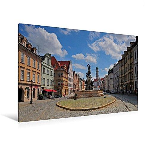 Calvendo Premium Textil-Leinwand 120 cm x 80 cm Quer, Herkulesbrunnen, Augsburg | Wandbild, Bild auf...
