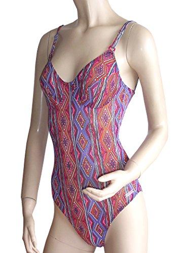 Solar Tan Thru della cinghia costume da bagno 7511181in rosso, turchese o blu, coppa B o coppa D rot/lila/orange gemustert