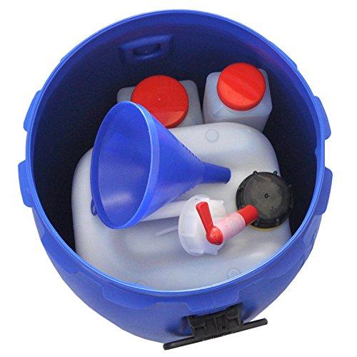 Notfallset: 60 L Deckelfass + 25 L Kanister + Auslaufhahn + Trichter + 4X Weithalsflaschen Vorratsbehälter Bevorratung Katastrophe Aufbewahrung