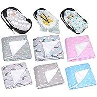 Baby Einschlagdecke mit Kaputze 90x90 cm Babyschale Plüsch Decke