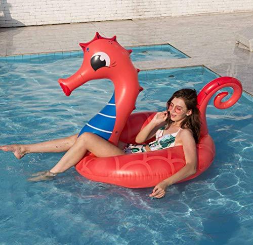 epferdchen Pool Float Gaint Red Seepferdchen Tier Schwimmbad Ring Wasser Fahrt auf Float Sitz Strand Spielzeug für Kinder Und Erwachsene 150 * 120 * 110 cm ()
